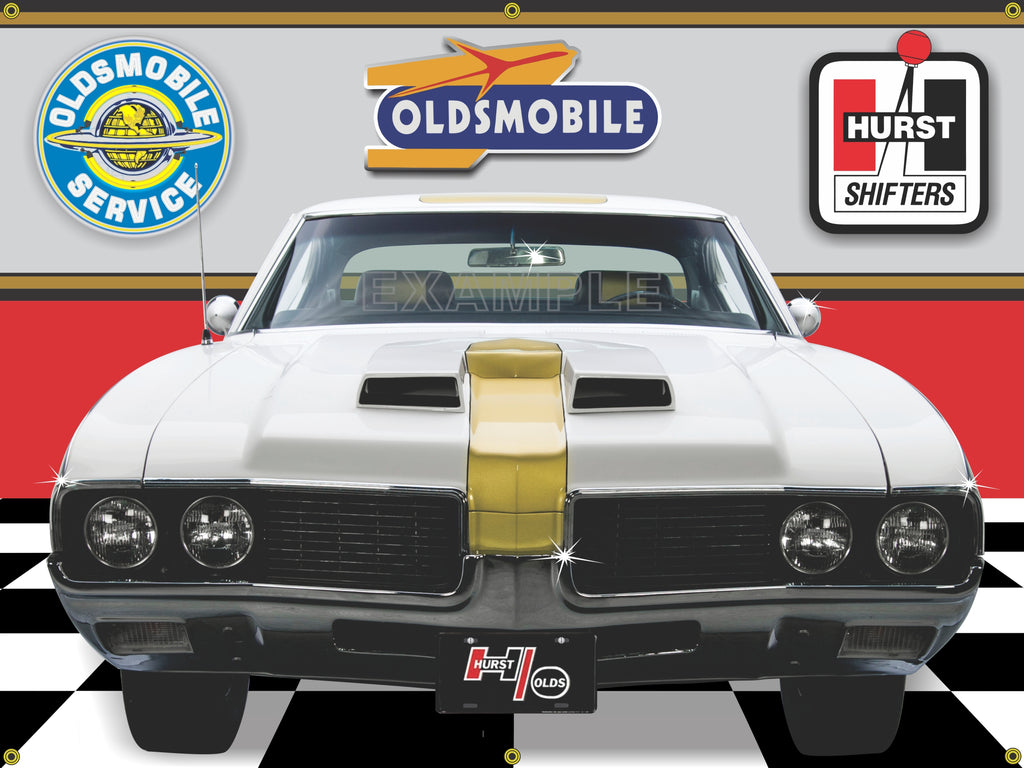 1969 OLDSMOBILE HURST OLDS 442 WHITE CAR GARAGE SCENE FRONT VIEW 3' X 4' BANNER SIGN CAR ART MURAL