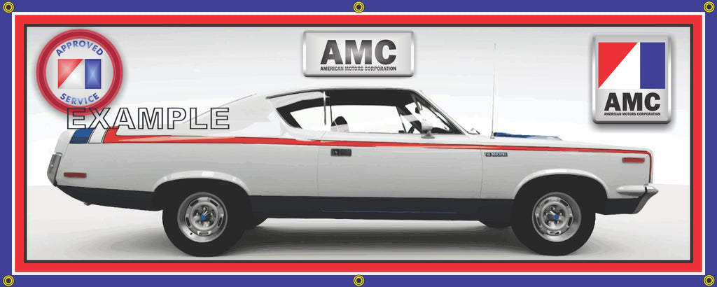 1970 AMC REBEL THE MACHINE RED WHITE BLUE CAR GARAGE SCENE SIDE VIEW BANNER SIGN ART MURAL VARIOUS SIZES