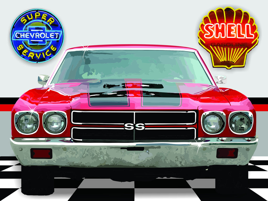 1970 CHEVELLE GARAGE SCENE Neon Effect Sign Printed Banner 4' x 3'