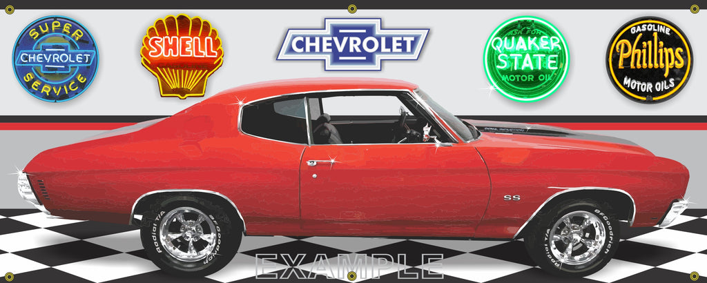 1970 CHEVROLET CHEVELLE SS RED BLACK CAR GARAGE SCENE SIDE VIEW BANNER SIGN ART MURAL VARIOUS SIZES