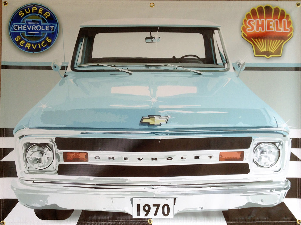 1970 CHEVY C10 TRUCK LIGHT BLUE GARAGE SCENE Neon Effect Sign Printed Banner 4' x 3'