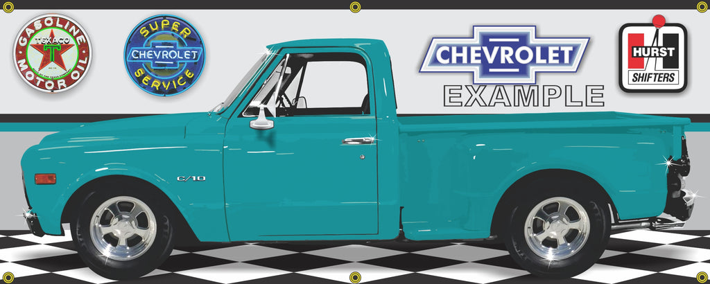 1970 CHEVROLET C10 TRUCK TEAL GREEN STEPSIDE GARAGE SCENE SIDE VIEW BANNER SIGN ART MURAL VARIOUS SIZES