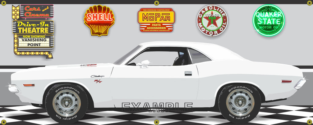 1970 DODGE CHALLENGER R/T VANISHING POINT WHITE CAR GARAGE SCENE SIDE VIEW BANNER SIGN ART MURAL VARIOUS SIZES