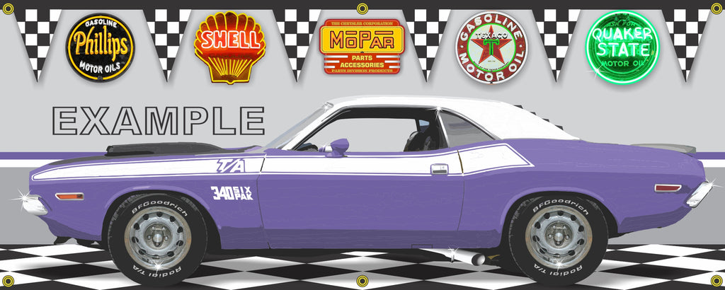 1970 DODGE CHALLENGER TA PLUM CRAZY/WHITE CAR GARAGE SCENE SIDE VIEW BANNER SIGN CAR ART MURAL VARIOUS SIZES