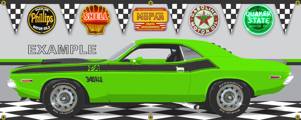 1970 DODGE CHALLENGER TA SUBLIME GREEN CAR GARAGE SCENE SIDE VIEW BANNER SIGN CAR ART MURAL VARIOUS SIZES