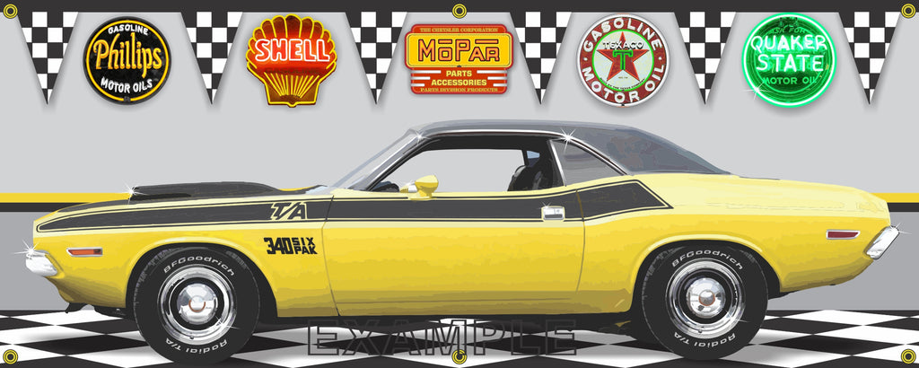 1970 DODGE CHALLENGER TA TOP BANANA YELLOW CAR GARAGE SCENE SIDE VIEW BANNER SIGN CAR ART MURAL VARIOUS SIZES
