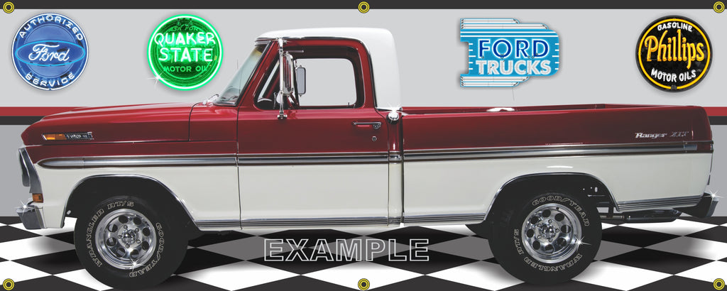 1970 FORD F100 RANGER TRUCK XLT RED WHITE GARAGE SCENE SIDE VIEW BANNER SIGN CAR ART MURAL VARIOUS SIZES