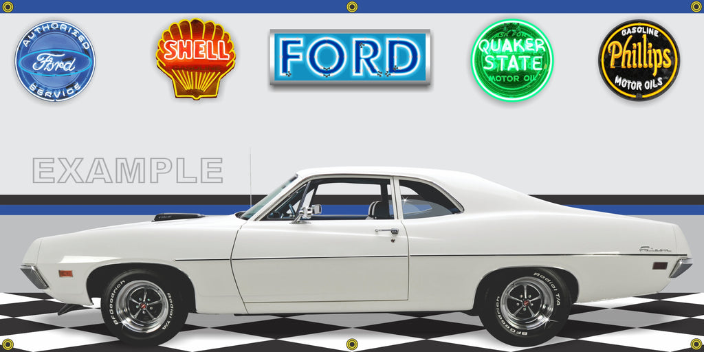 1970 FORD Falcon 429 Super Cobra Jet V8 WHITE CAR GARAGE SCENE SIDE VIEW BANNER SIGN ART MURAL VARIOUS SIZES