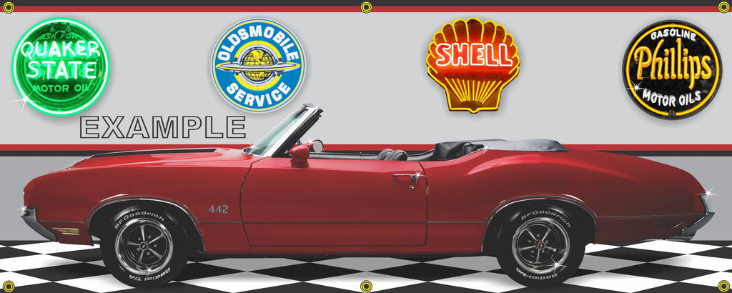 1970 OLDSMOBILE 442 FLAME RED CONVERTIBLE CAR GARAGE SCENE SIDE VIEW BANNER SIGN ART MURAL VARIOUS SIZES