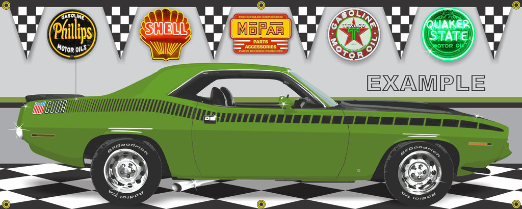 1970 PLYMOUTH AAR CUDA LIME GREEN FF4 CAR GARAGE SCENE SIDE VIEW BANNER SIGN ART MURAL VARIOUS SIZES
