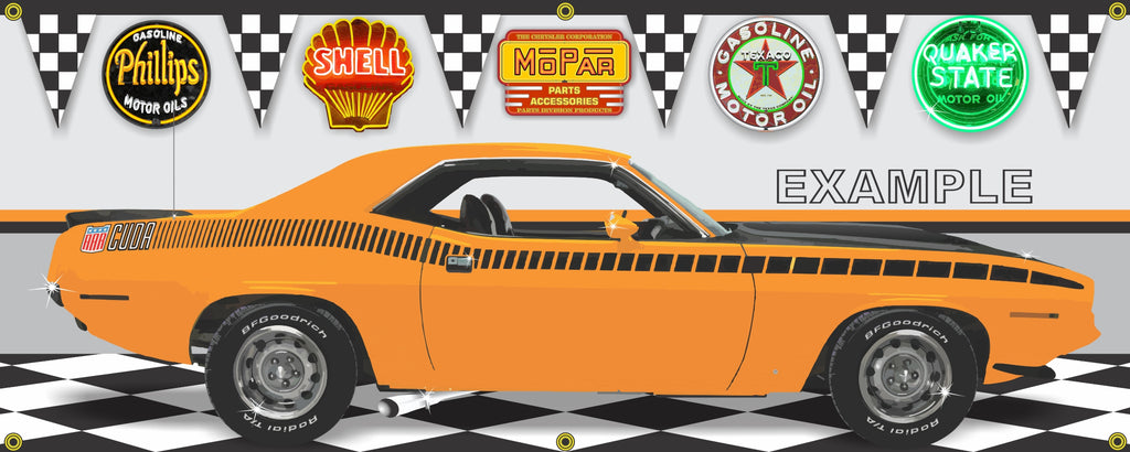 1970 PLYMOUTH AAR CUDA ORANGE VITAMIN C CAR GARAGE SCENE SIDE VIEW BANNER SIGN CAR ART MURAL VARIOUS SIZES