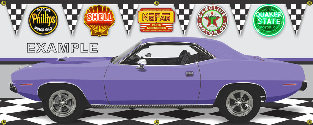 1970 PLYMOUTH 'CUDA PLUM CRAZY PURPLE CUSTOM GARAGE SCENE SIDE VIEW BANNER SIGN CAR ART MURAL VARIOUS SIZES