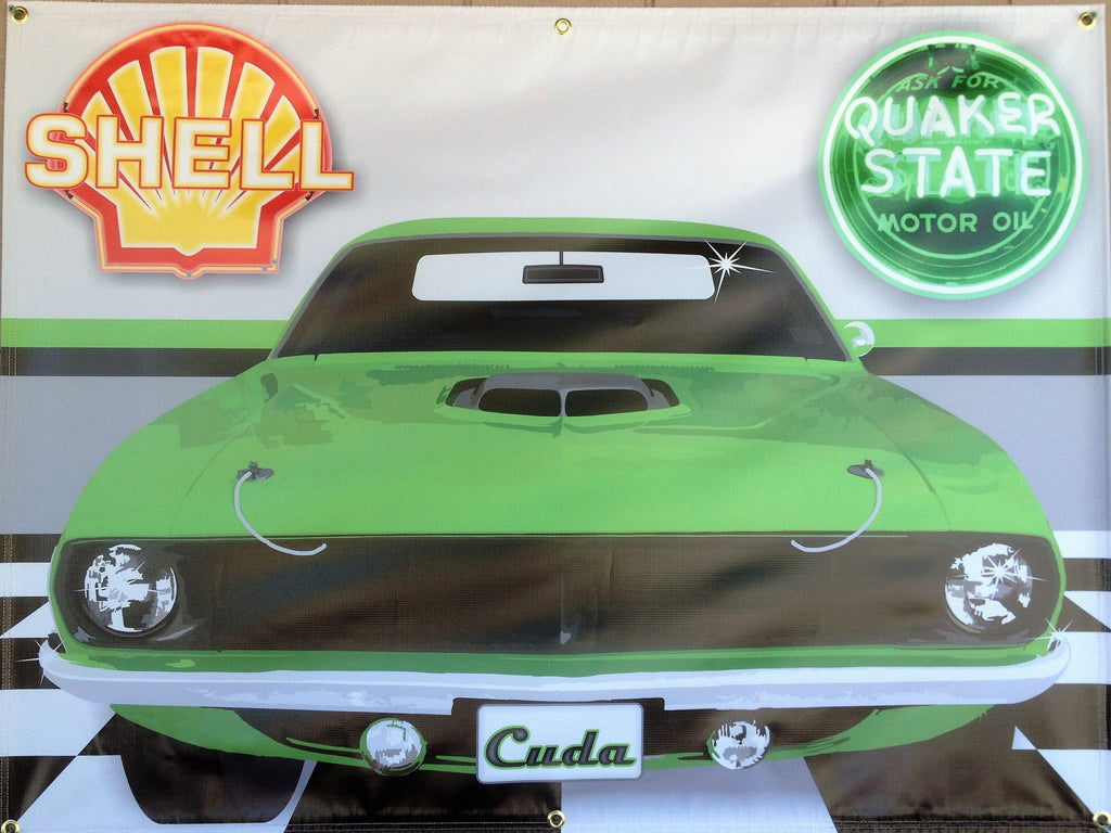 1970 PLYMOUTH CUDA SUBLIME GREEN GARAGE SCENE Neon Effect Sign Printed Banner 4' x 3'