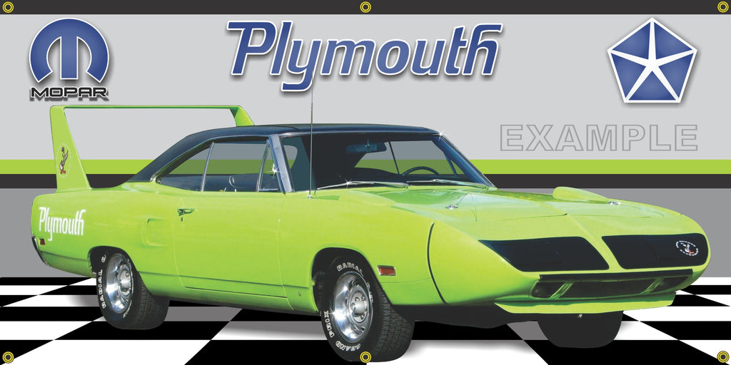 1970 PLYMOUTH SUPERBIRD ROADRUNNER LIMELIGHT GREEN SIDE VIEW GARAGE SCENE BANNER MURAL VARIOUS SIZES