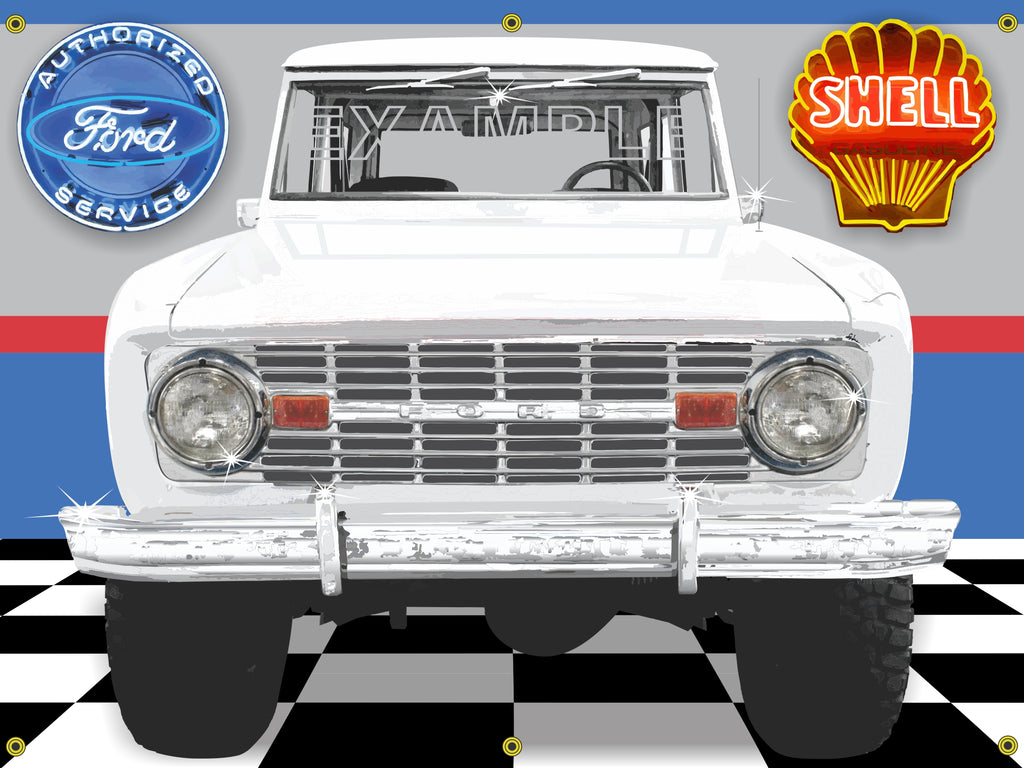 1970's FORD BRONCO ARCTIC/BRIGHT WHITE GARAGE SCENE SIDE VIEW BANNER SIGN CAR ART MURAL 4' X 3'