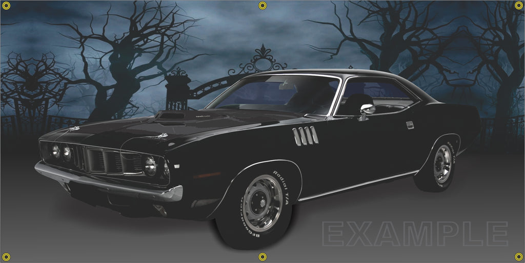 1971 PLYMOUTH HEMI CUDA 426 BLACK CEMETERY SCENE SIDE VIEW BANNER SIGN ART MURAL VARIOUS SIZES