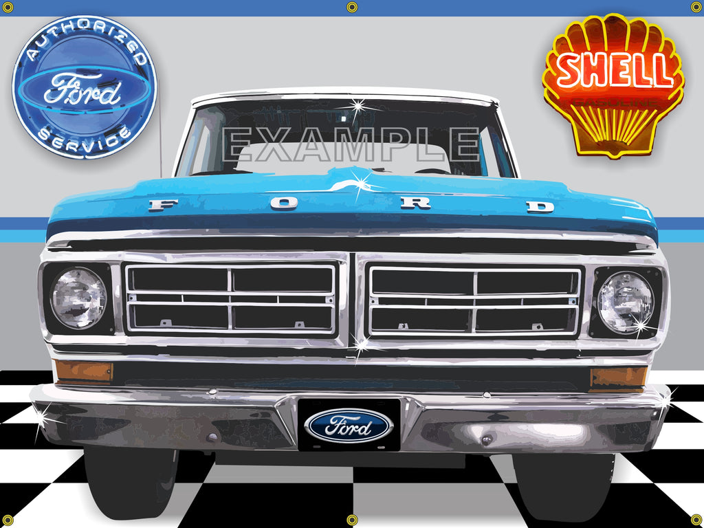 1972 FORD F-100 TRUCK TURQUOISE BLUE GARAGE SCENE SIDE VIEW BANNER SIGN CAR ART MURAL 4' X 3'