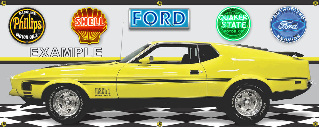 1972 FORD MUSTANG MACH 1 BRIGHT YELLOW CAR GARAGE SCENE SIDE VIEW BANNER SIGN ART MURAL VARIOUS SIZES