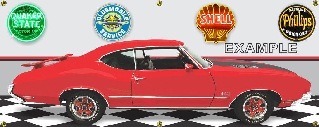 1972 OLDSMOBILE CUTLASS 442 RED CAR GARAGE SCENE SIDE VIEW BANNER SIGN ART MURAL VARIOUS SIZES