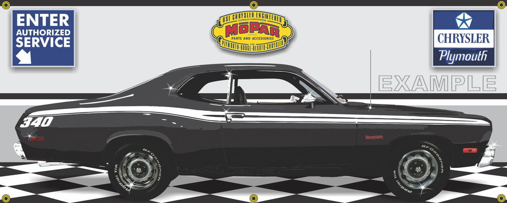 1973 PLYMOUTH 340 DUSTER BLACK RETRO CAR GARAGE SCENE SIDE VIEW BANNER SIGN CAR ART MURAL VARIOUS SIZES