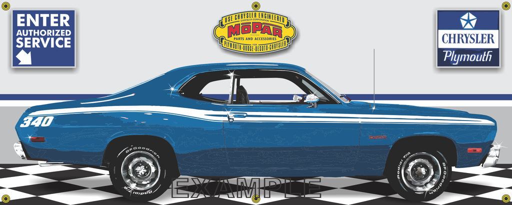 1973 PLYMOUTH 340 DUSTER BLUE RETRO CAR GARAGE SCENE SIDE VIEW BANNER SIGN CAR ART MURAL VARIOUS SIZES