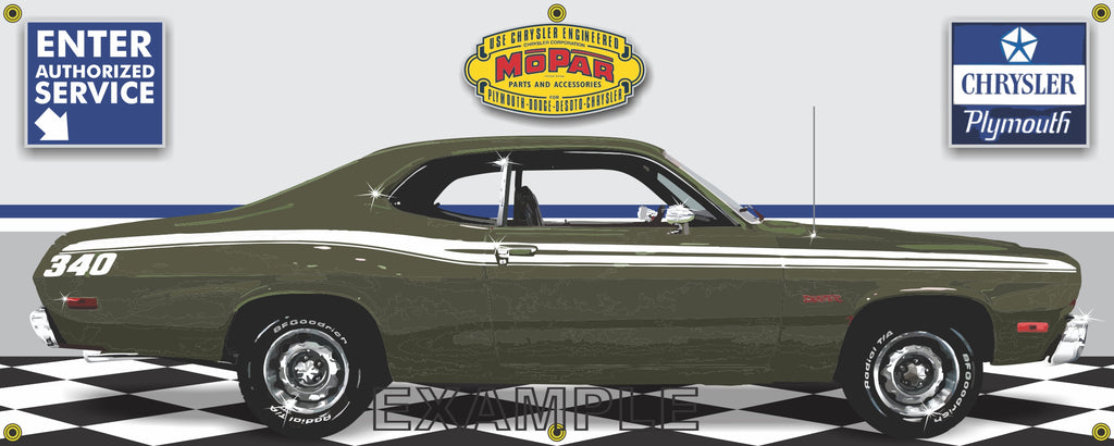 1973 PLYMOUTH 340 DUSTER GREEN RETRO CAR GARAGE SCENE SIDE VIEW BANNER SIGN CAR ART MURAL VARIOUS SIZES