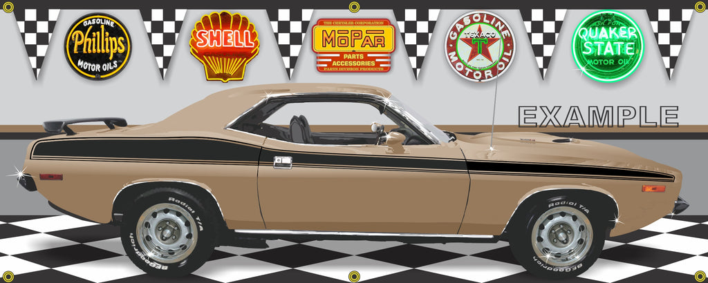 1973 PLYMOUTH CUDA MOPAR COPPER GOLD CAR GARAGE SCENE SIDE VIEW BANNER SIGN CAR ART MURAL VARIOUS SIZES