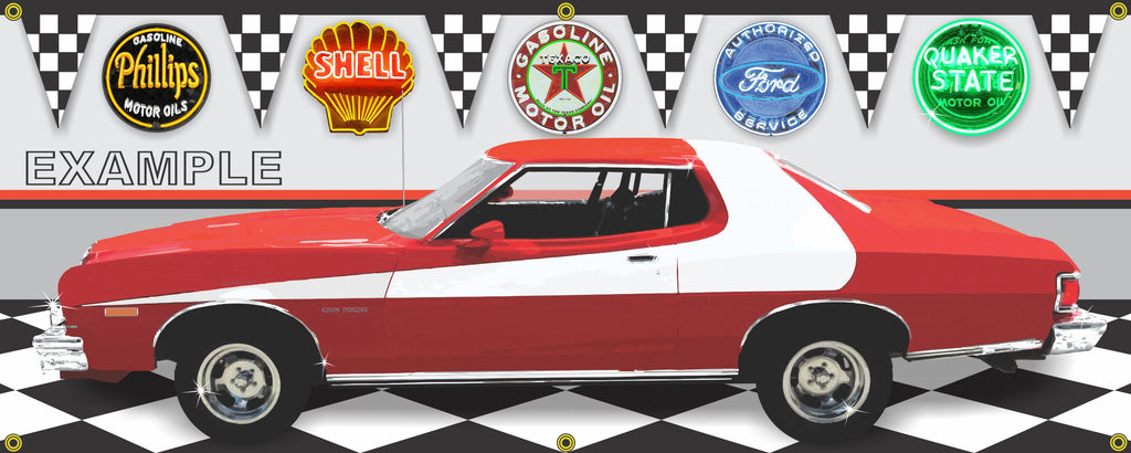 1974 FORD GRAN TORINO & STARSKY HUTCH GARAGE SCENE SIDE VIEW BANNER SIGN T.V. CAR ART MURAL VARIOUS SIZES