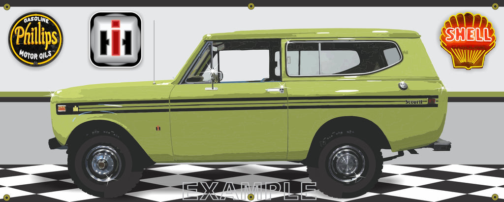 1974 INTERNATIONAL IH SCOUT II CEYLON GREEN GARAGE SCENE SIDE VIEW BANNER SIGN CAR ART MURAL VARIOUS SIZES