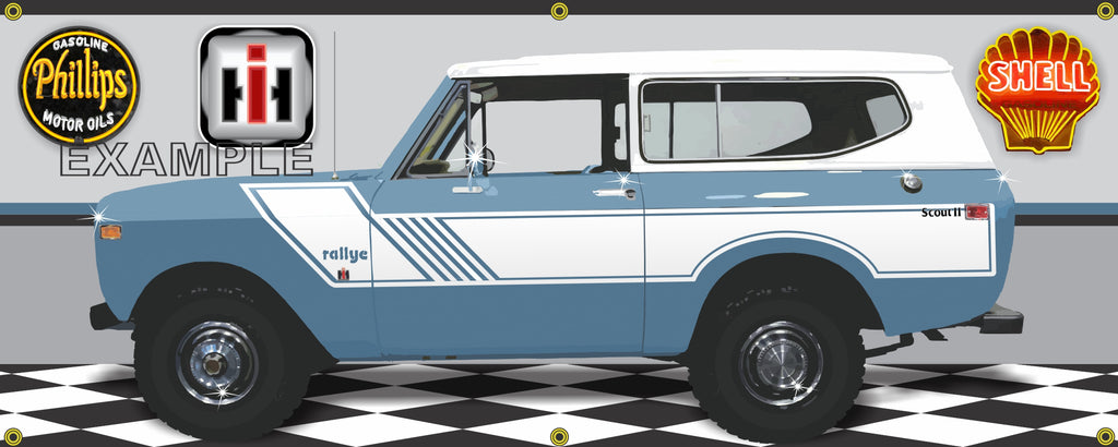 1974 INTERNATIONAL IH SCOUT II RALLYE MED BLUE GARAGE SCENE SIDE VIEW BANNER SIGN CAR ART MURAL VARIOUS SIZES
