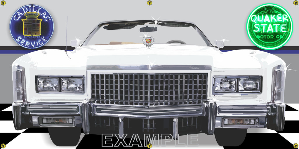 1975 CADILLAC ELDORADO CONVERTIBLE WHITE CAR GARAGE SCENE FRONT VIEW BANNER SIGN CAR ART MURAL VARIOUS SIZES