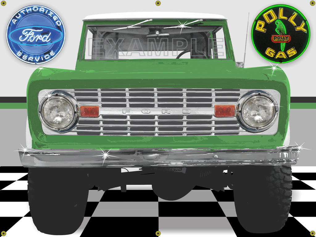 1976 FORD BRONCO GREEN GARAGE SCENE BANNER ART SIGN MURAL 4' x 3'