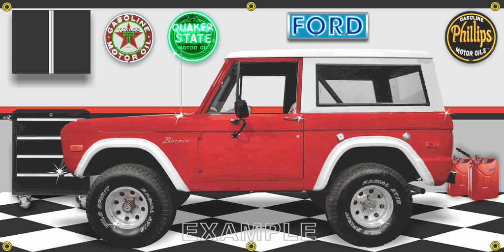 1976 FORD BRONCO RED WHITE OFF-ROAD GARAGE SCENE SIDE VIEW BANNER SIGN CAR ART MURAL VARIOUS SIZES