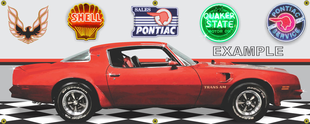 1976 PONTIAC TRANS AM RED HARDTOP CAR GARAGE SCENE SIDE VIEW BANNER SIGN ART MURAL VARIOUS SIZES