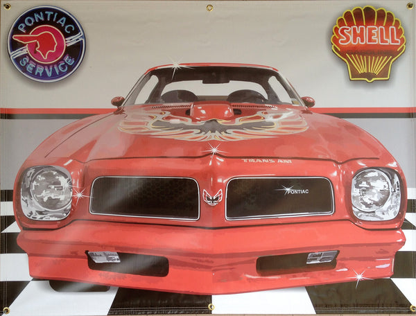 1976 Pontiac Trans Am RED GARAGE SCENE Neon Effect Sign Printed Banner 4' x 3'