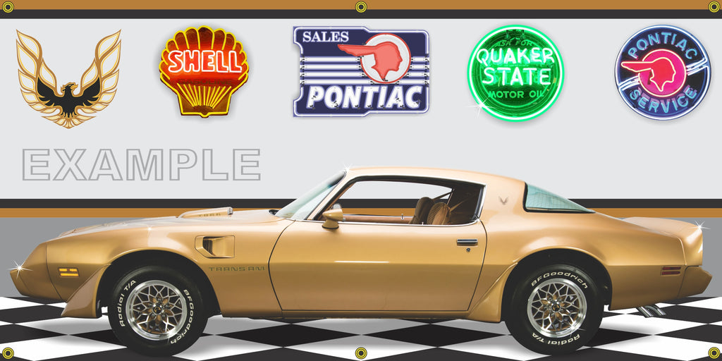 1979 PONTIAC FIREBIRD TRANS AM SOLAR GOLD CAR GARAGE SCENE SIDE VIEW BANNER SIGN ART MURAL VARIOUS SIZES