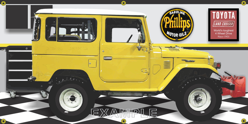 1979 TOYOTA BJ41 LAND CRUISER YELLOW GARAGE SCENE SIDE VIEW BANNER SIGN CAR ART MURAL VARIOUS SIZES