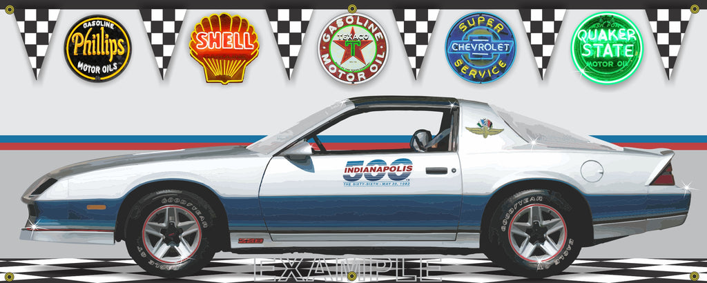 1982 CHEVROLET CAMARO Z28 INDY 500 PACE CAR GARAGE SCENE SIDE VIEW BANNER SIGN ART MURAL VARIOUS SIZES