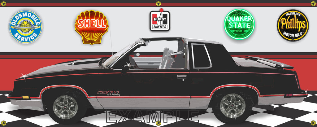 1983 OLDSMOBILE CUTLASS HURST OLDS 15TH ANNIVERSARY BLACK CAR GARAGE SCENE SIDE VIEW BANNER SIGN ART MURAL VARIOUS SIZES