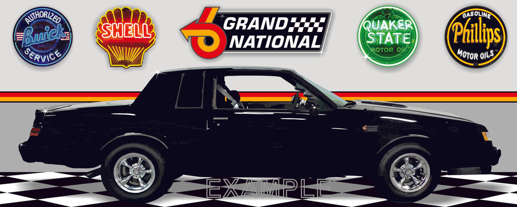 1987 BUICK GRAND NATIONAL BLACK CAR GARAGE SCENE SIDE VIEW BANNER SIGN ART MURAL VARIOUS SIZES