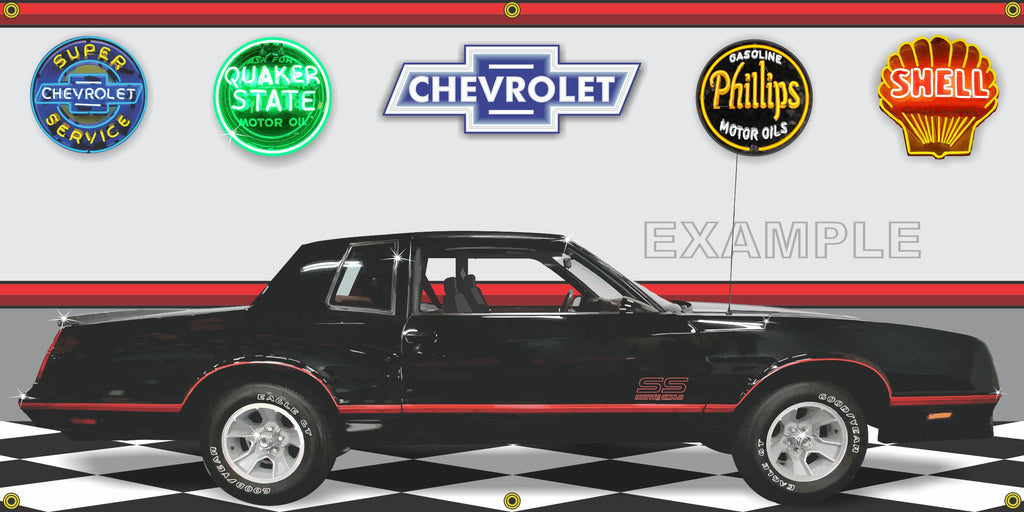 1987 CHEVROLET MONTE CARLO SS BLACK CAR GARAGE SCENE SIDE VIEW BANNER SIGN ART MURAL VARIOUS SIZES