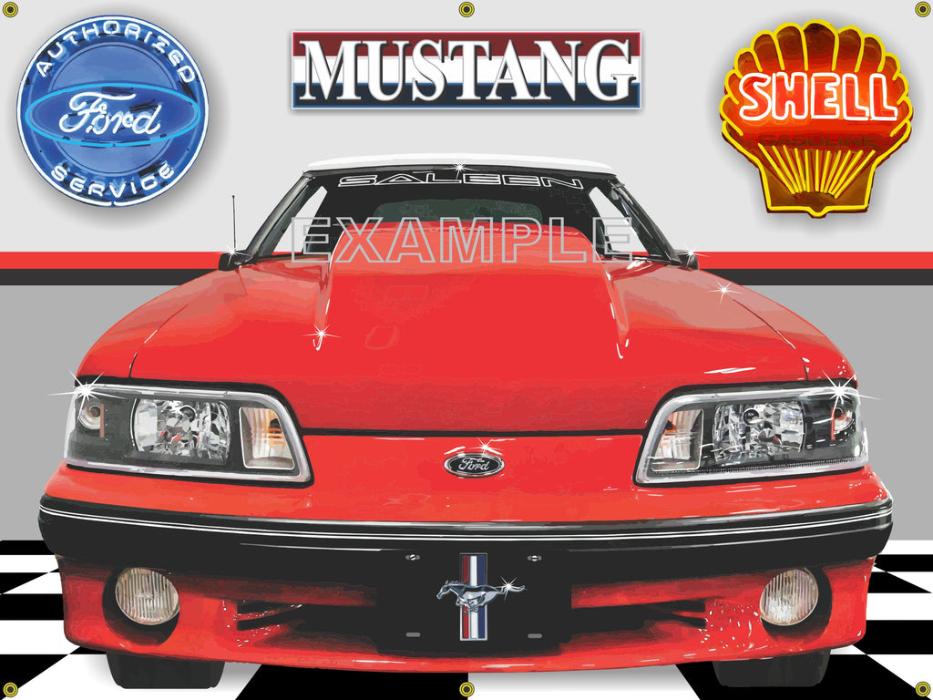 1987 FORD MUSTANG SALEEN RED CAR GARAGE SCENE SIDE VIEW BANNER SIGN CAR ART MURAL 4' X 3'