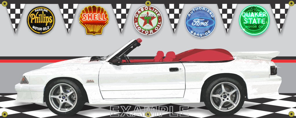 1989 FORD MUSTANG WHITE CONVERTIBLE CAR GARAGE SCENE SIDE VIEW BANNER SIGN CAR ART MURAL VARIOUS SIZES