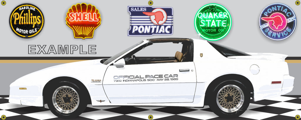1989 PONTIAC TRANS AM 20TH ANNIVERSARY INDY 500 PACE CAR GARAGE SCENE SIDE VIEW BANNER SIGN ART MURAL VARIOUS SIZES