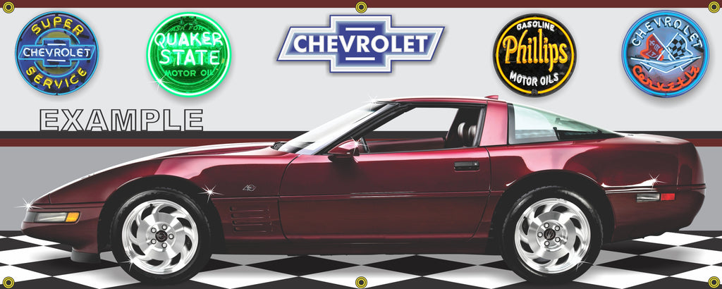 1993 CHEVROLET CORVETTE 40TH ANNIVERSARY HARD TOP RED CAR GARAGE SCENE SIDE VIEW BANNER SIGN ART MURAL VARIOUS SIZES