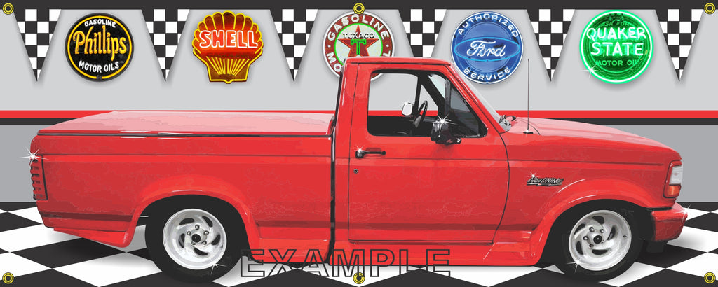 1993 FORD F-150 LIGHTNING TRUCK RED GARAGE SCENE SIDE VIEW BANNER SIGN CAR ART MURAL VARIOUS SIZES