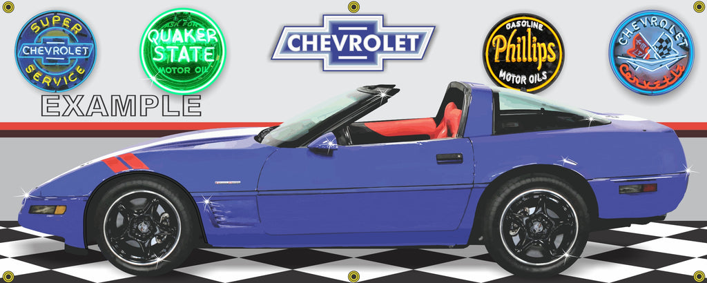 1996 CHEVROLET CORVETTE GRAND SPORT BLUE CAR GARAGE SCENE SIDE VIEW BANNER SIGN ART MURAL VARIOUS SIZES