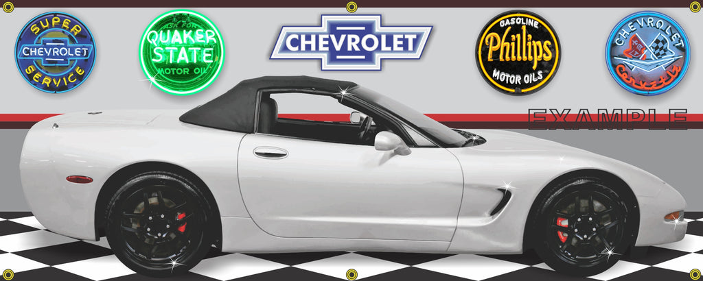 2001 CHEVROLET CORVETTE C5 WHITE CONVERTIBLE BLACK RIMS CAR GARAGE SCENE SIDE VIEW BANNER SIGN ART MURAL VARIOUS SIZES