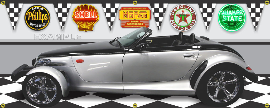 2001 PLYMOUTH PROWLER BLACK TIE EDITION CAR GARAGE SCENE SIDE VIEW BANNER SIGN CAR ART MURAL VARIOUS SIZES