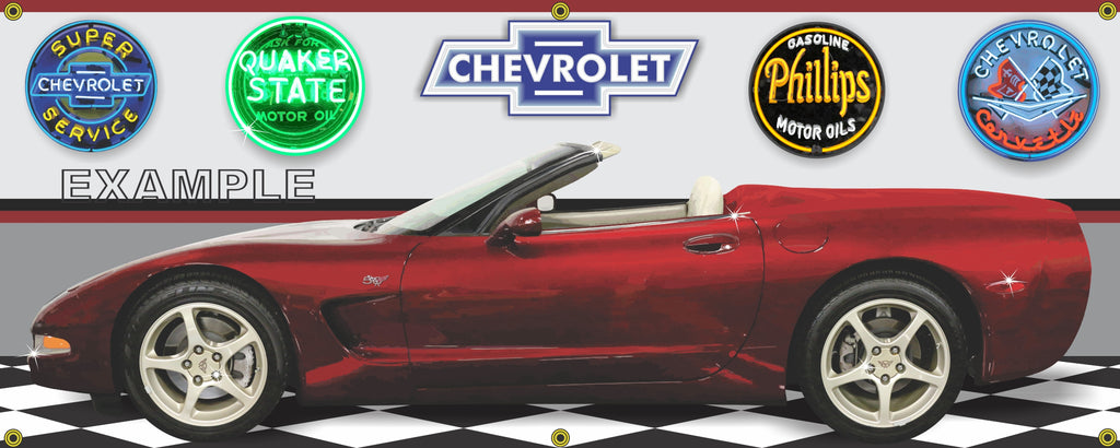 2003 CHEVROLET CORVETTE CONVERTIBLE 50TH ANNIVERSARY RED CAR GARAGE SCENE SIDE VIEW BANNER SIGN ART MURAL VARIOUS SIZES
